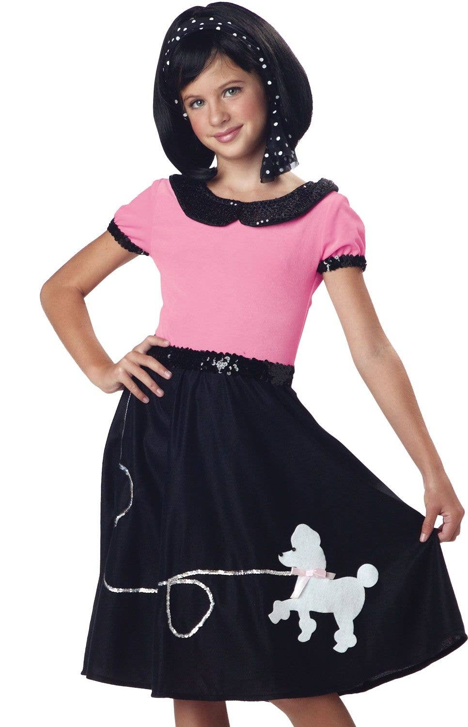 20a1d97a4d8c3 50's Pink and White Girls Sock Hop Costume Image 2