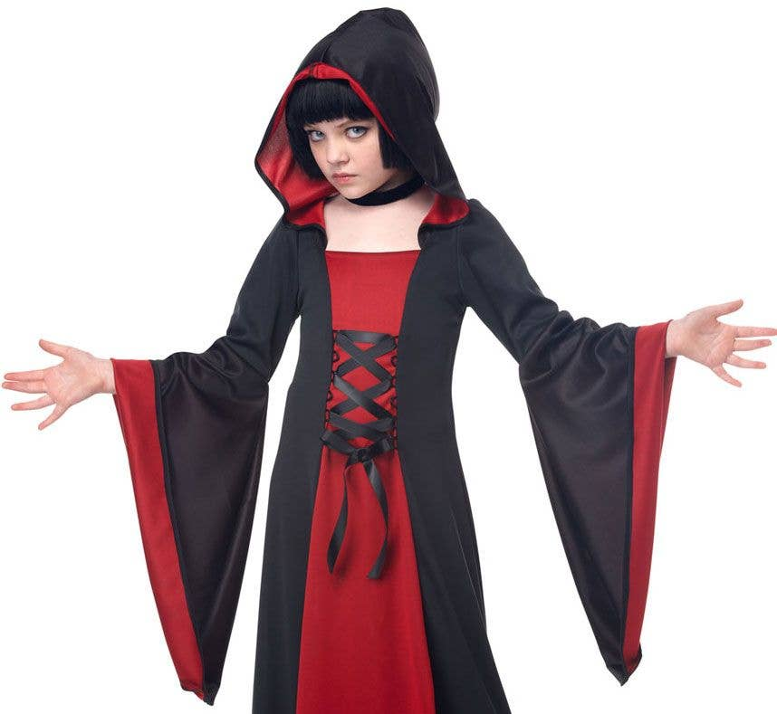 Girls Halloween Costume Robe | Hooded Girls Black and Red Robe