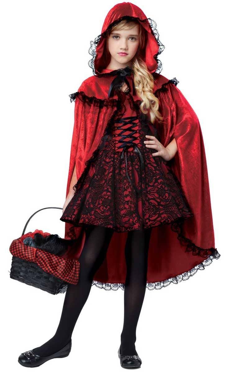 9aacfa182a4 Girls Gothic Red Riding Hood Halloween Costume