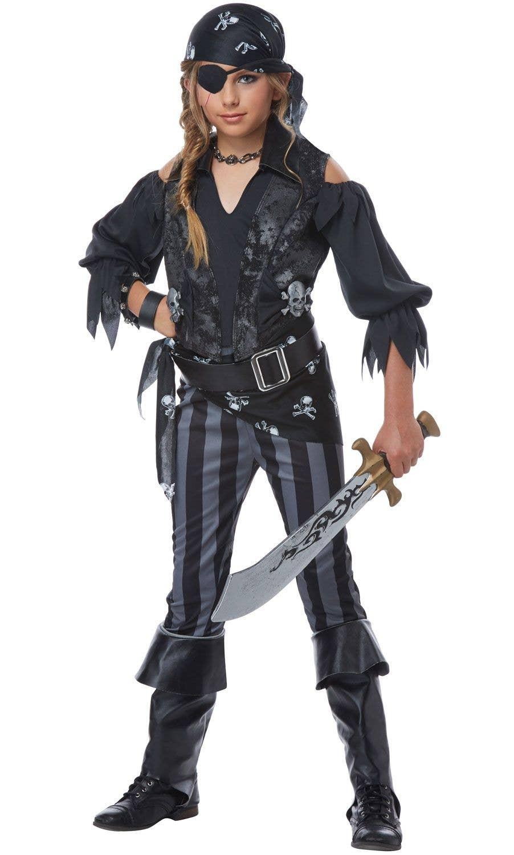 Rebel Black Pirate Girlu0027s Fancy Dress Costume Front Image 2  sc 1 st  Heaven Costumes & Girls Rebel Black Pirate Costume | Book Week Costumes