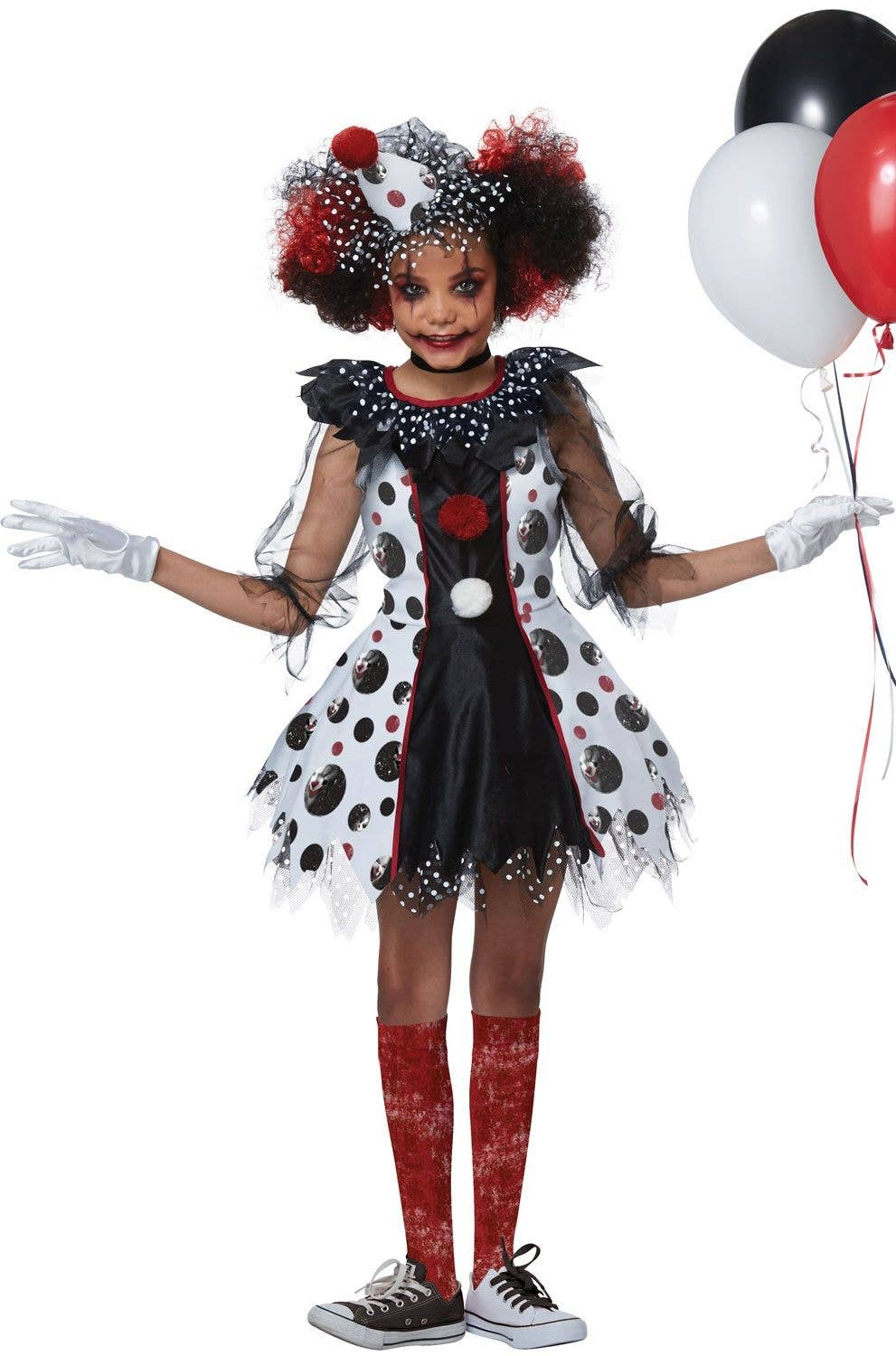 Halloween Clown.Scary Polka Dots Clown Girls Halloween Costume