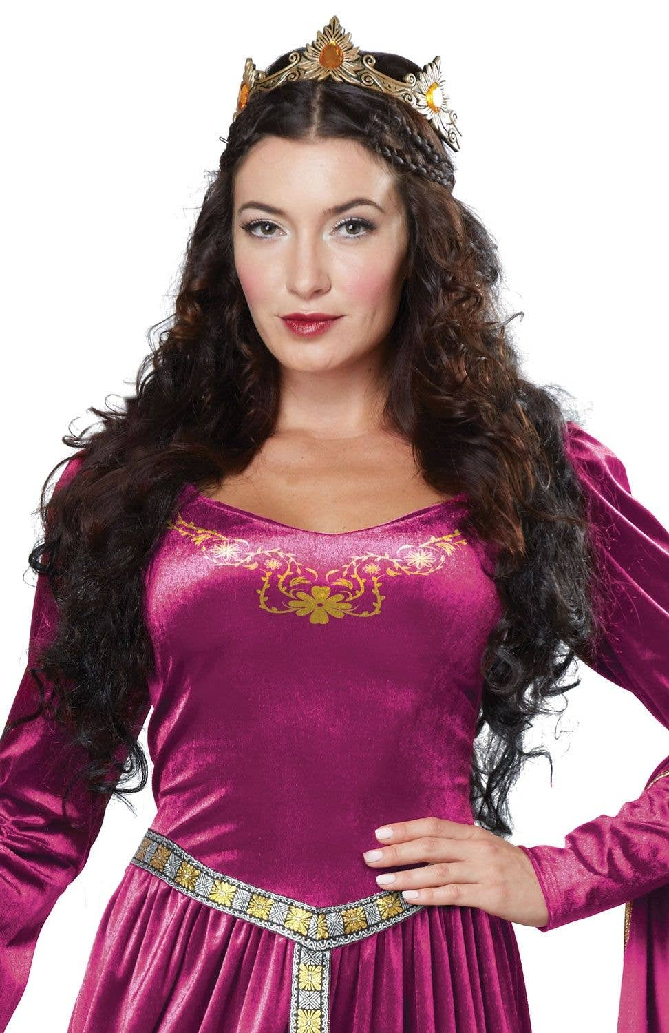 0e3e95244accc Lady Guinevere Berry Fancy Dress Adult s Medieval Costume Close Up Image