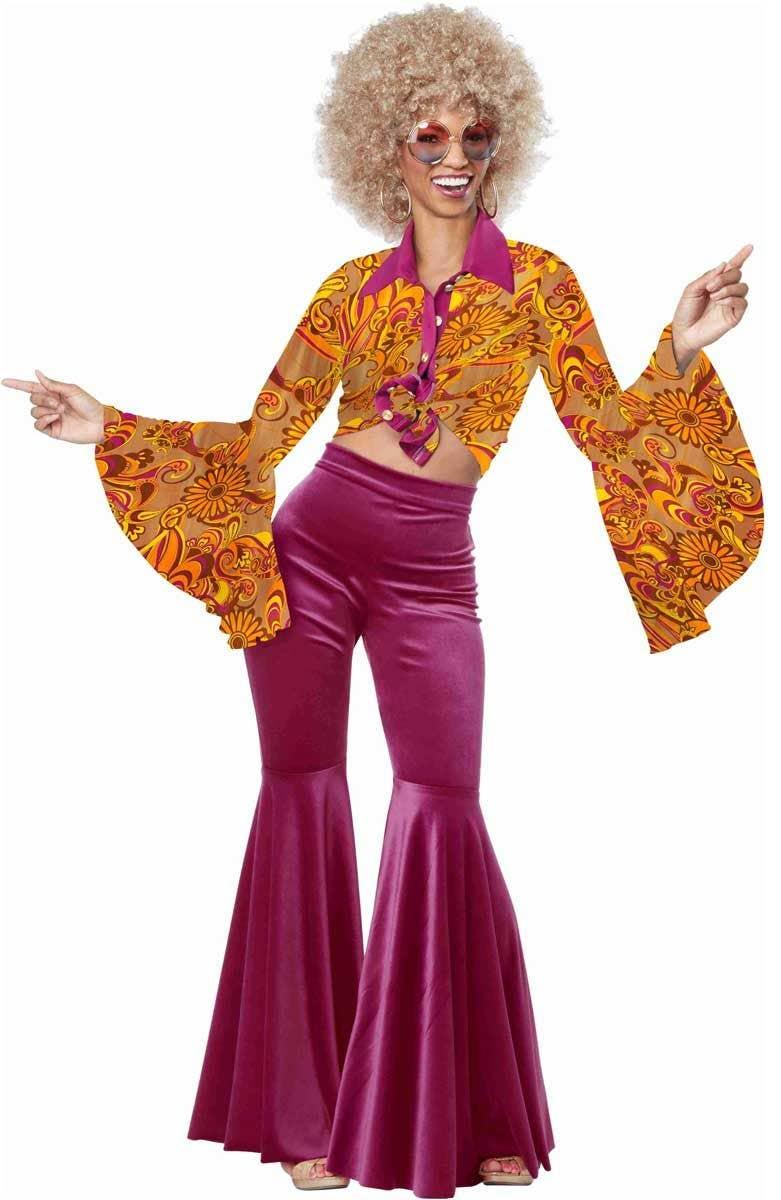 fe1aa61c34602 Retro Women s 1970 s Disco Fancy Dress Costume with Pants