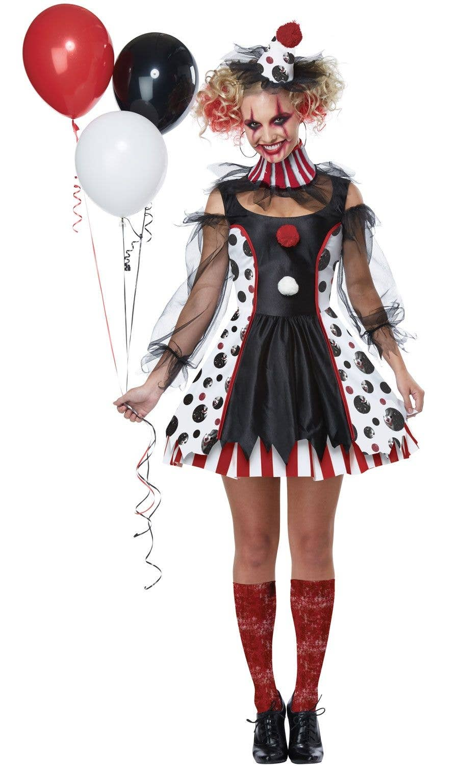 twisted clown adult's costume | wicked halloween it women's outfit