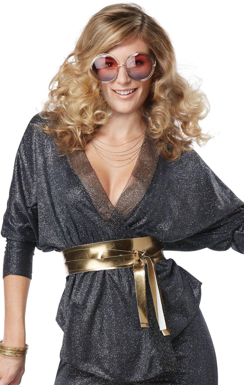 Black Glitter Disco Womens Costume | Dazzling Disco Women