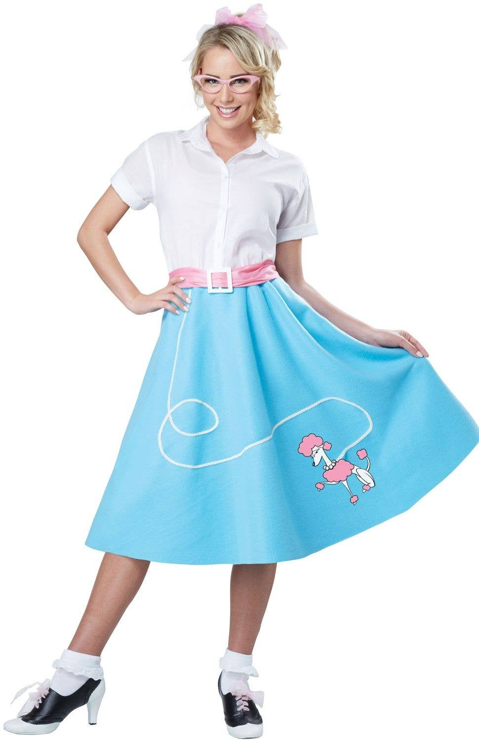 f5369634dc7 Blue and White 50s Rockabilly Women s Costume Main Image