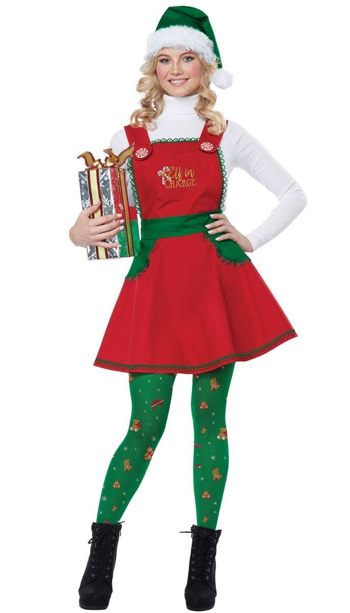 Christmas Elf Costume.Elf In Charge Women S Fancy Dress Costume