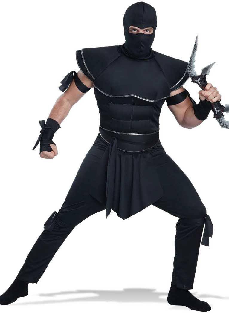 Menu0027s Black Ninja Warrior Fancy Dress Costume Front Image  sc 1 st  Heaven Costumes & Menu0027s Japanese Ninja Costume | Black Ninja Fancy Dress Costume