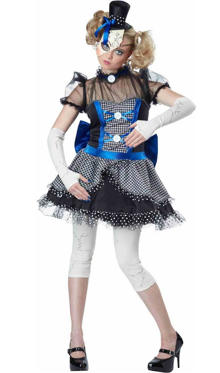 creepy doll womens halloween fancy dress front view