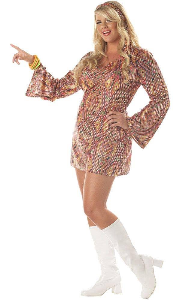 Plus Size Disco Dress Womens Costume 70s Disco Sexy Costume