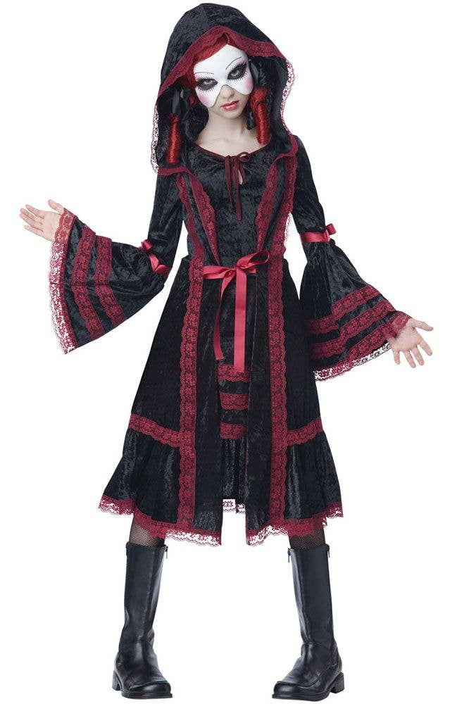 teen girls gothic black doll halloween fancy dress front