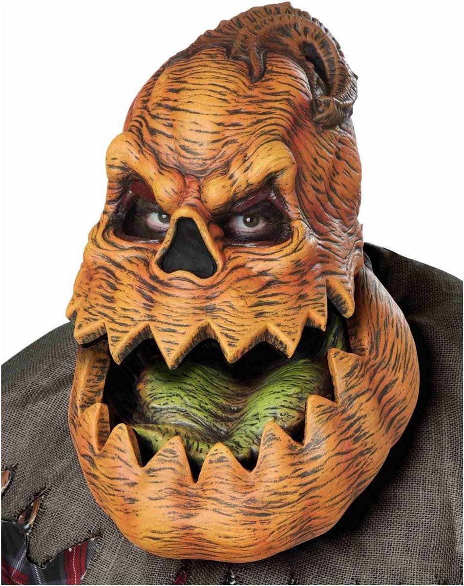 psycho pumpkin deluxe latex mask | moving orange pumpkin mask