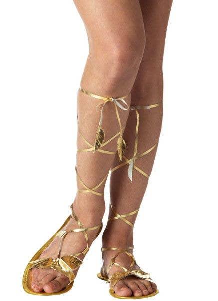 1b73b8a8f127d Goddess Gold Strappy Costume Sandals