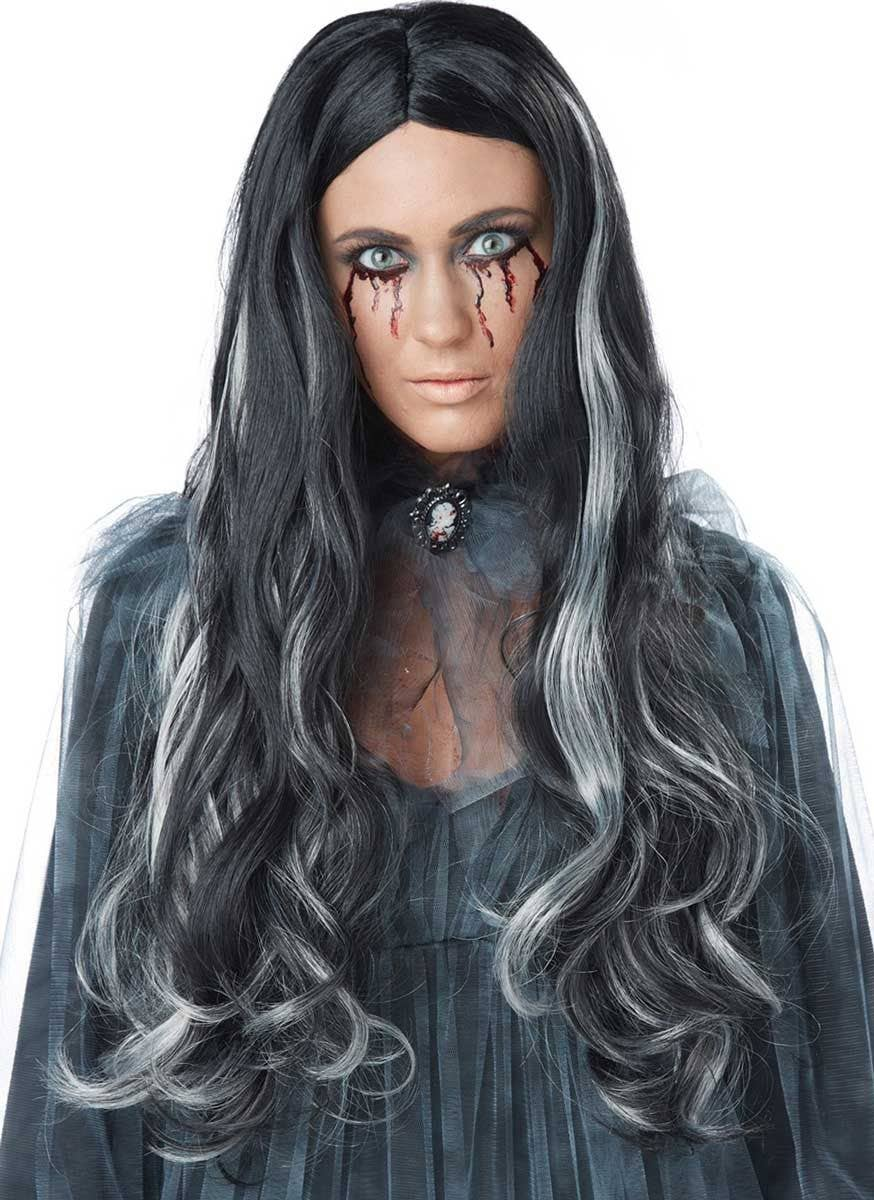 long black and white women's wig | bloody mary black halloween wig