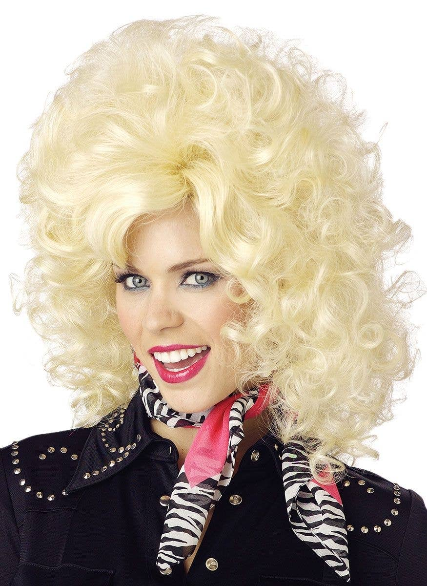 Women s Blonde Country Western Diva Dolly Parton Costume Wig Front View 2064aeb9bb80