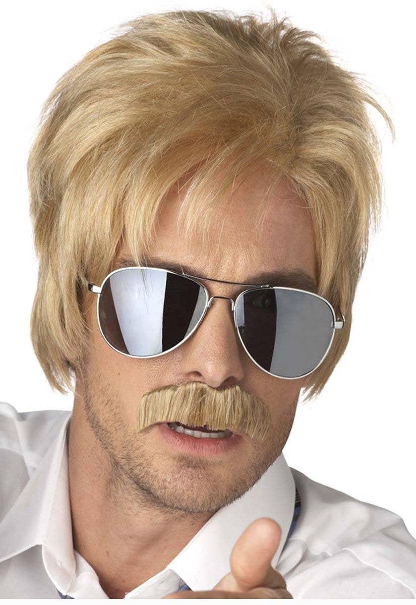 27ff247210 1970 s Detective Men s Blonde Cop Wig and Moustache Set