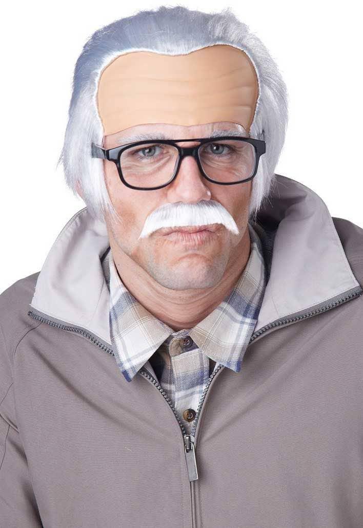 c78f9fd072 Men s Old Grandpa Funny White Costume Wig and Moustache