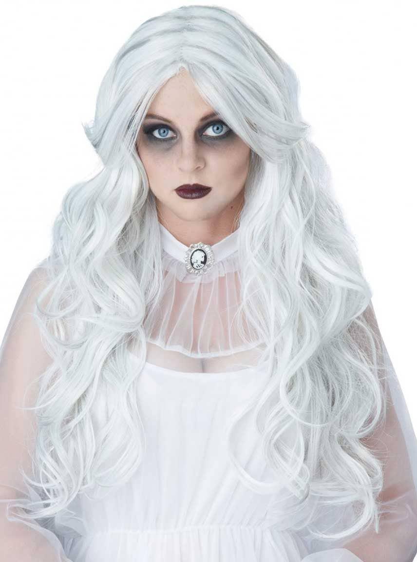 Ghost Long Curly Women's White Wig | Women's White ...