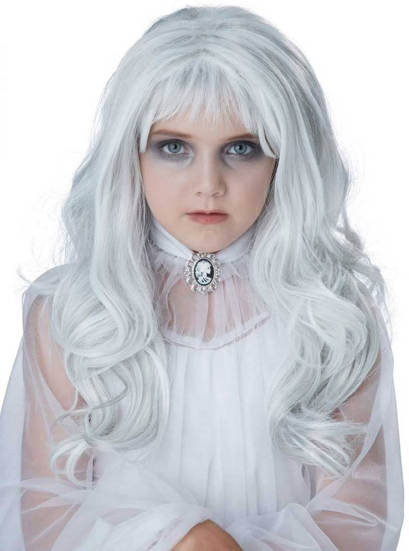 supernatural ghost girls white wig | kids white halloween ghost wig