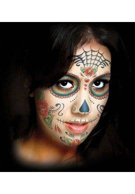 b5faef95a Women's Sugar Skull Temporary Face Tattoo Makeup Alternate Image 2
