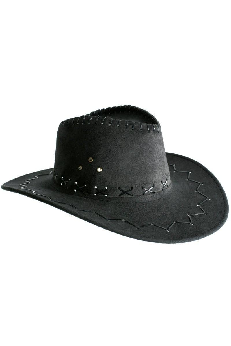 42fc1c25aaaf0 Cowboy Outback Faux Suede Black Unisex Costume Hat Accessory Main Image