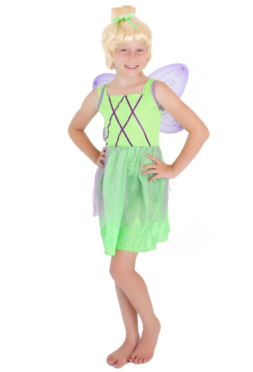 Captivating Girls Cute Green Tinkerbell Fairy Costume Main Image