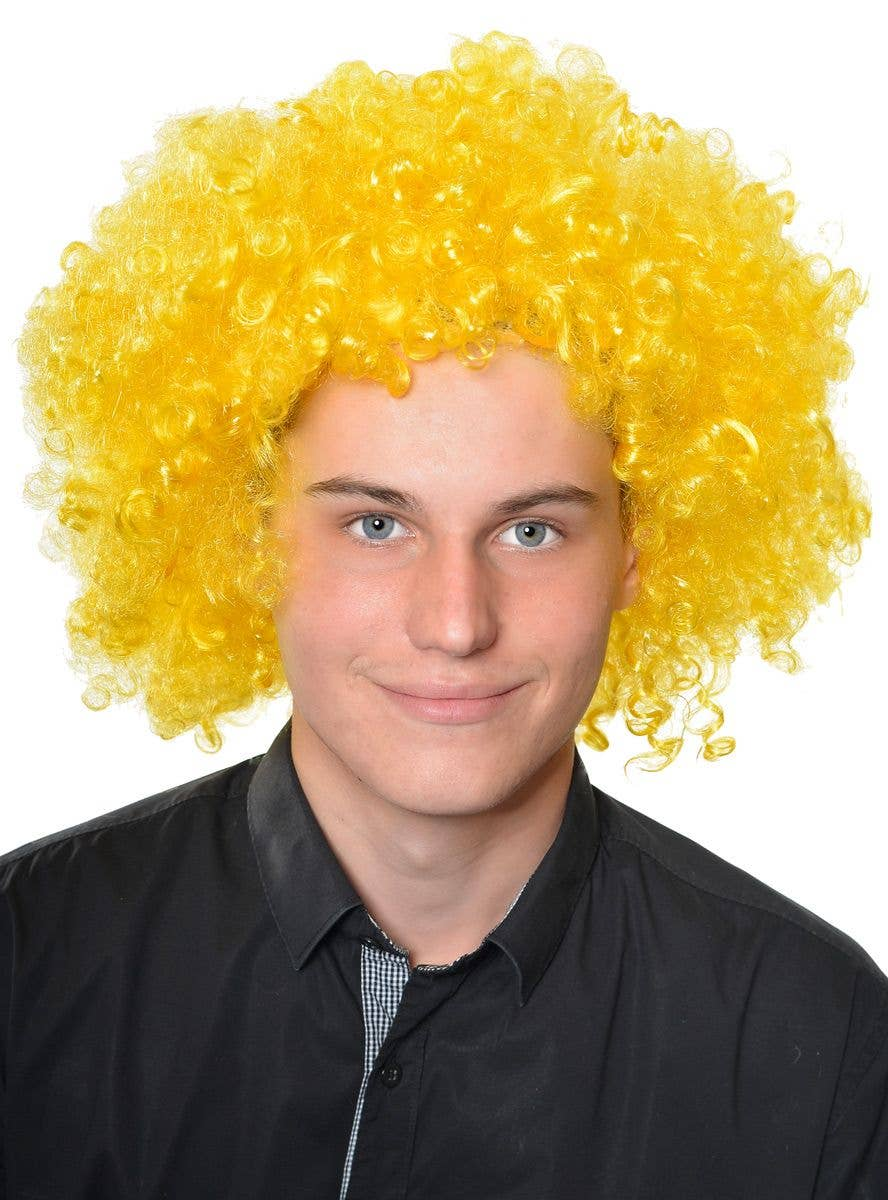 Afro Fluro Yellow Curly Adults Clown Costume