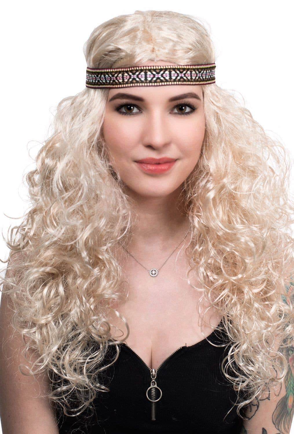 Women s Light Blonde Curly Long Hippie Wig 80ac125f70