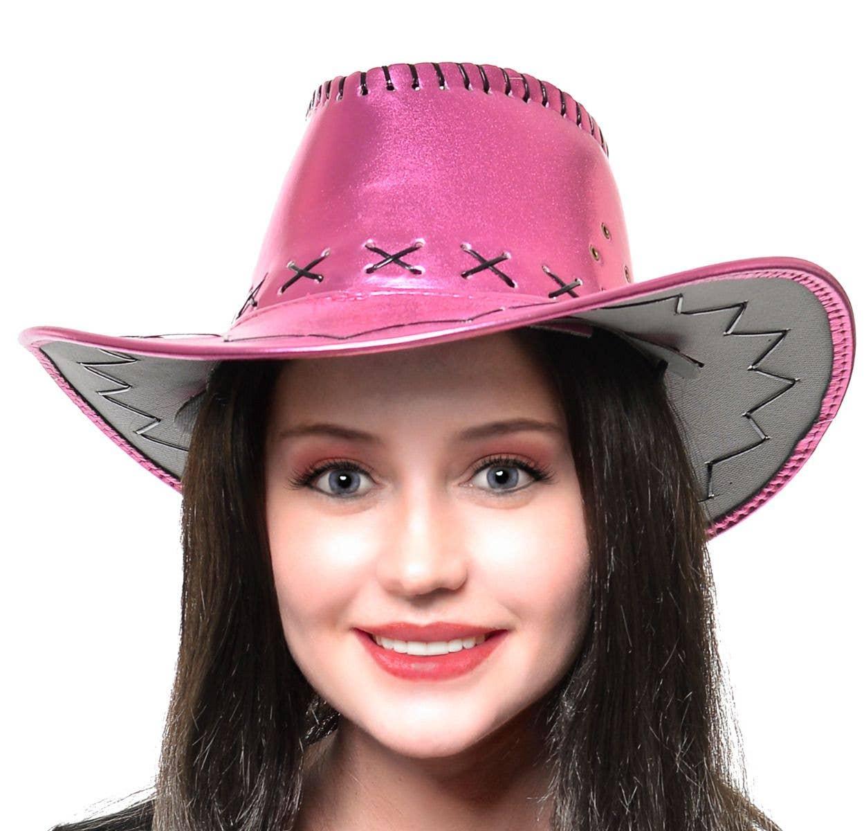 5175b2824ef7b Metallic Pink Women's Cowboy Hat Costume Accessory