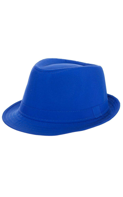 acb76424f Neon Gangster Fedora Costume Hat - Blue