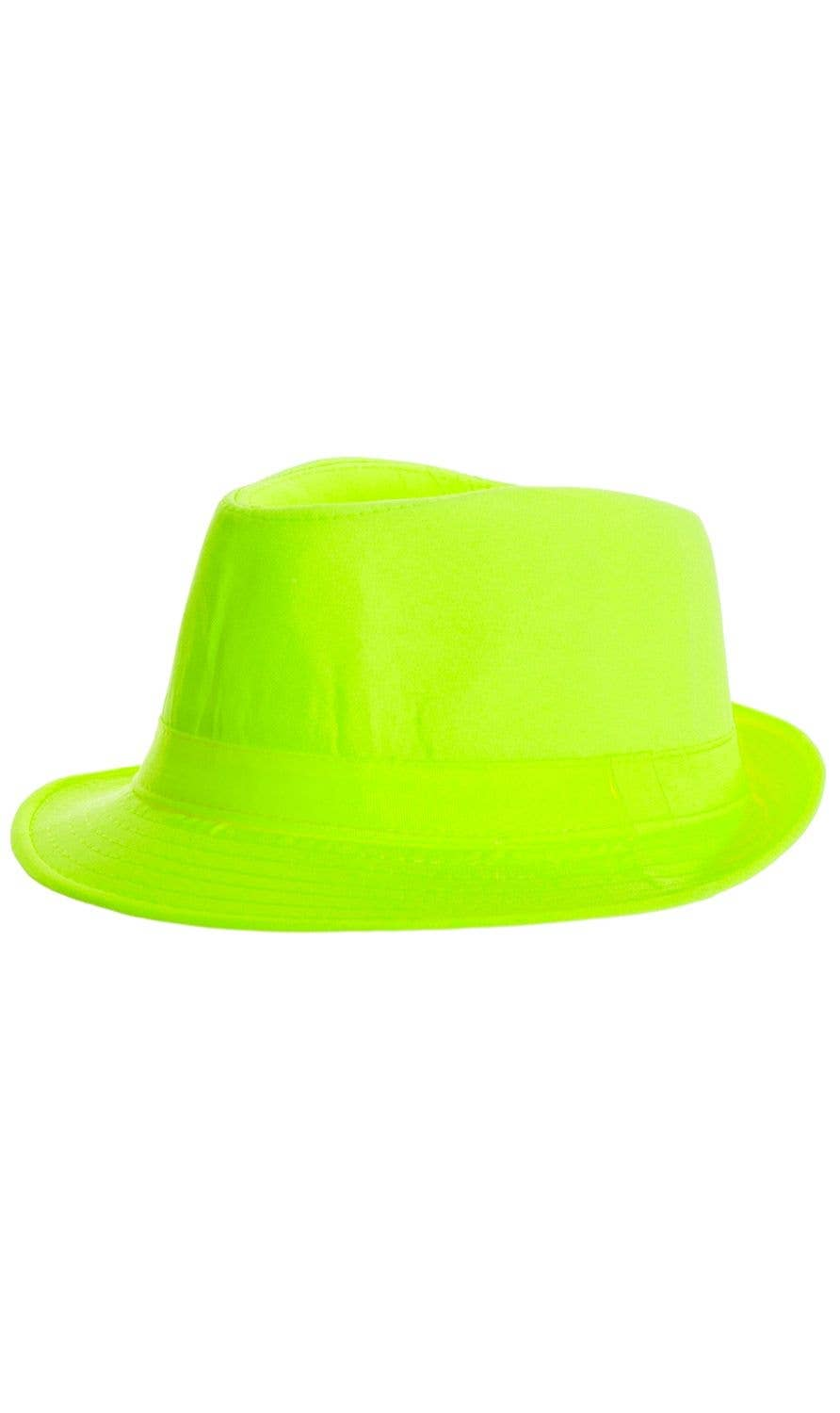 Neon Fluro Green Yellow 1920 s Gangster Costume Fedora Hat Accessory d14350a96007