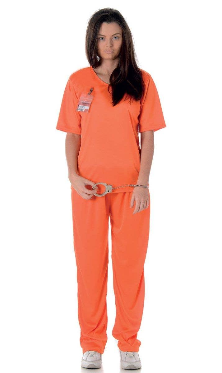 Womenu0027s Female Prisoner Orange Jumpsuit Costume Front View  sc 1 st  Heaven Costumes & Adultu0027s Orange Prisoner Uniform | Orange Inmate Womenu0027s Costume