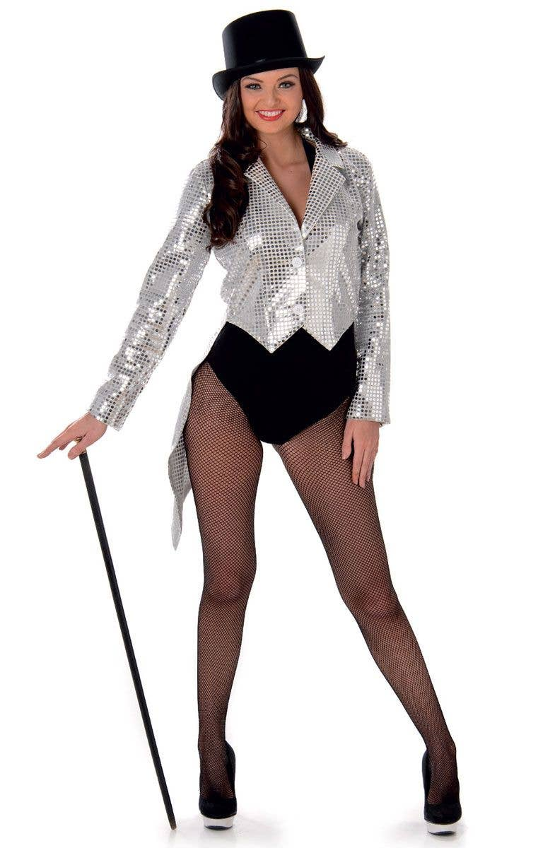 74360a23966 Silver Sequinned Women s Costume Jacket with Tails Front View