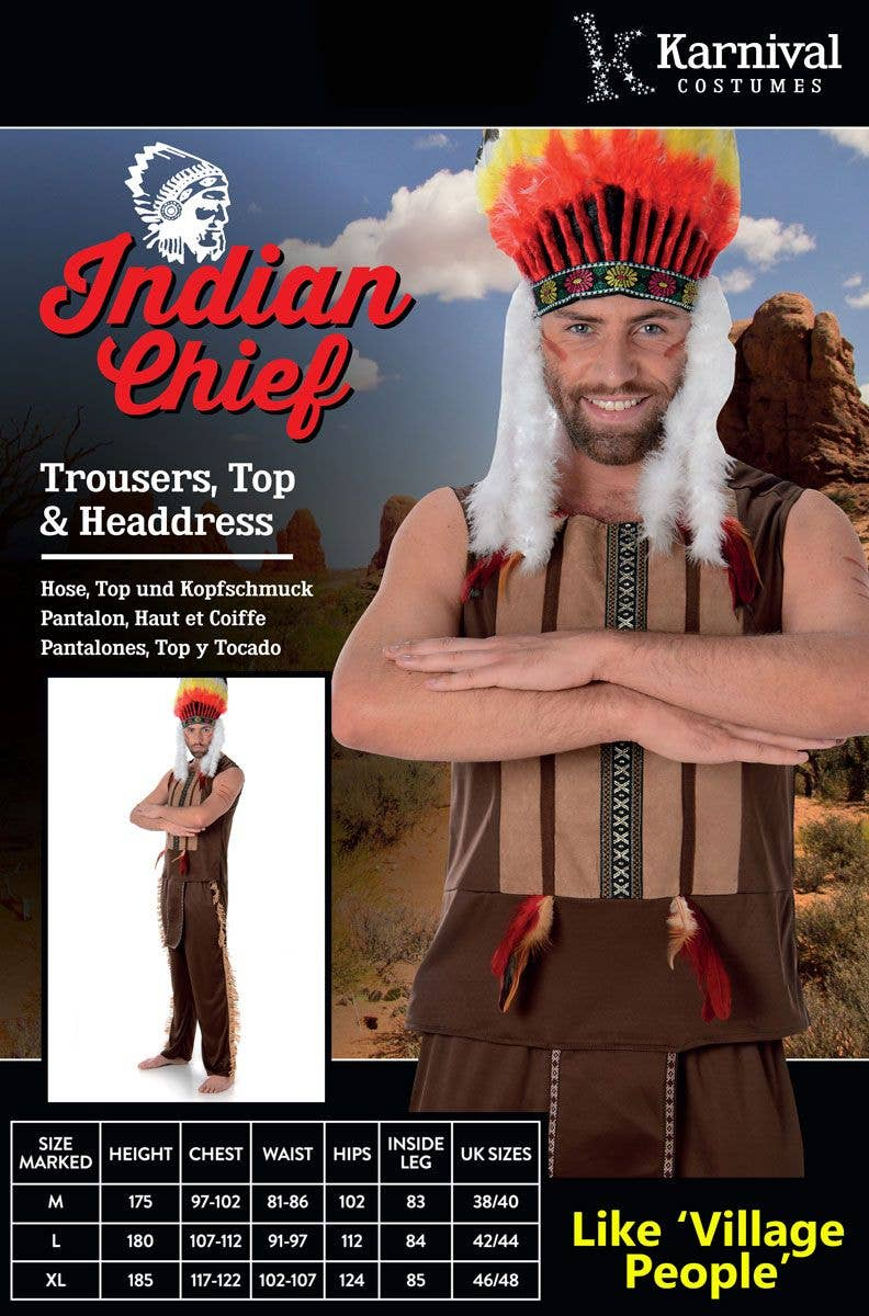 ... Village People Menu0027s American Indian Costume Packaging Image  sc 1 st  Heaven Costumes & Village People Menu0027s Indian Costume | American Indian Menu0027s Costume