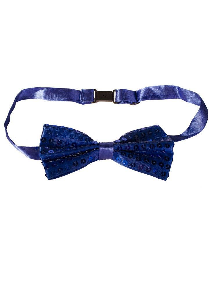 0ab0202aba72 Dark Blue Satin Sequined Bow Tie | Adult's Blue Costume Bow Tie