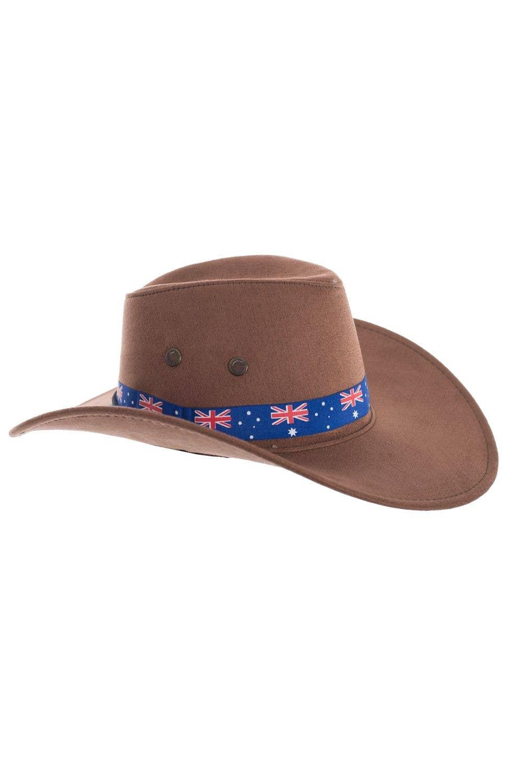 Brown Akubra Style Australia Day Cowboy Hat Costume Accessory aba1b30336d