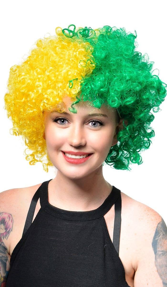 Unisex Australia Day Green and Gold Light Up Afro Costume Wig Accessory 9d1a9e536