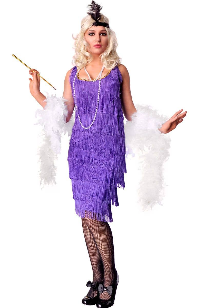 1a9e361e50a Women s Long Purple Flapper Costume Dress Front View 1920 s ...