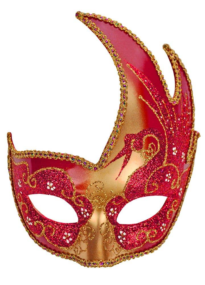 Swan Venetian Masquerade Mask Gold And Red