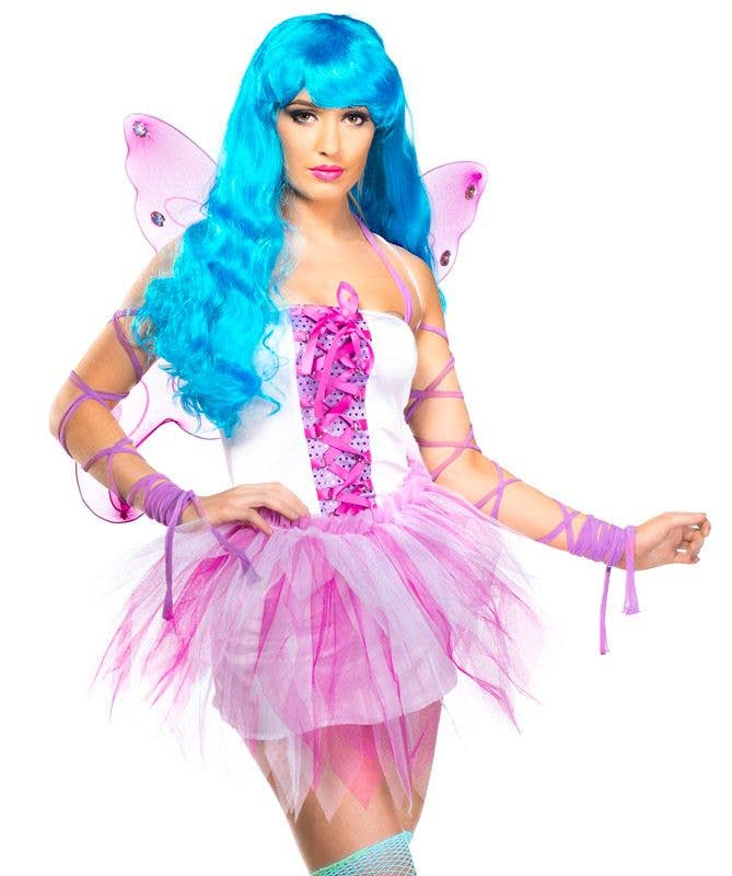 ... Womenu0027s Sexy Pink And White Fairy Fancy Dress Costume Close Up Front View ...  sc 1 st  Heaven Costumes & Fairy Costumes | Pretty Pink Fairy Costume with Wings | Pixie Costume