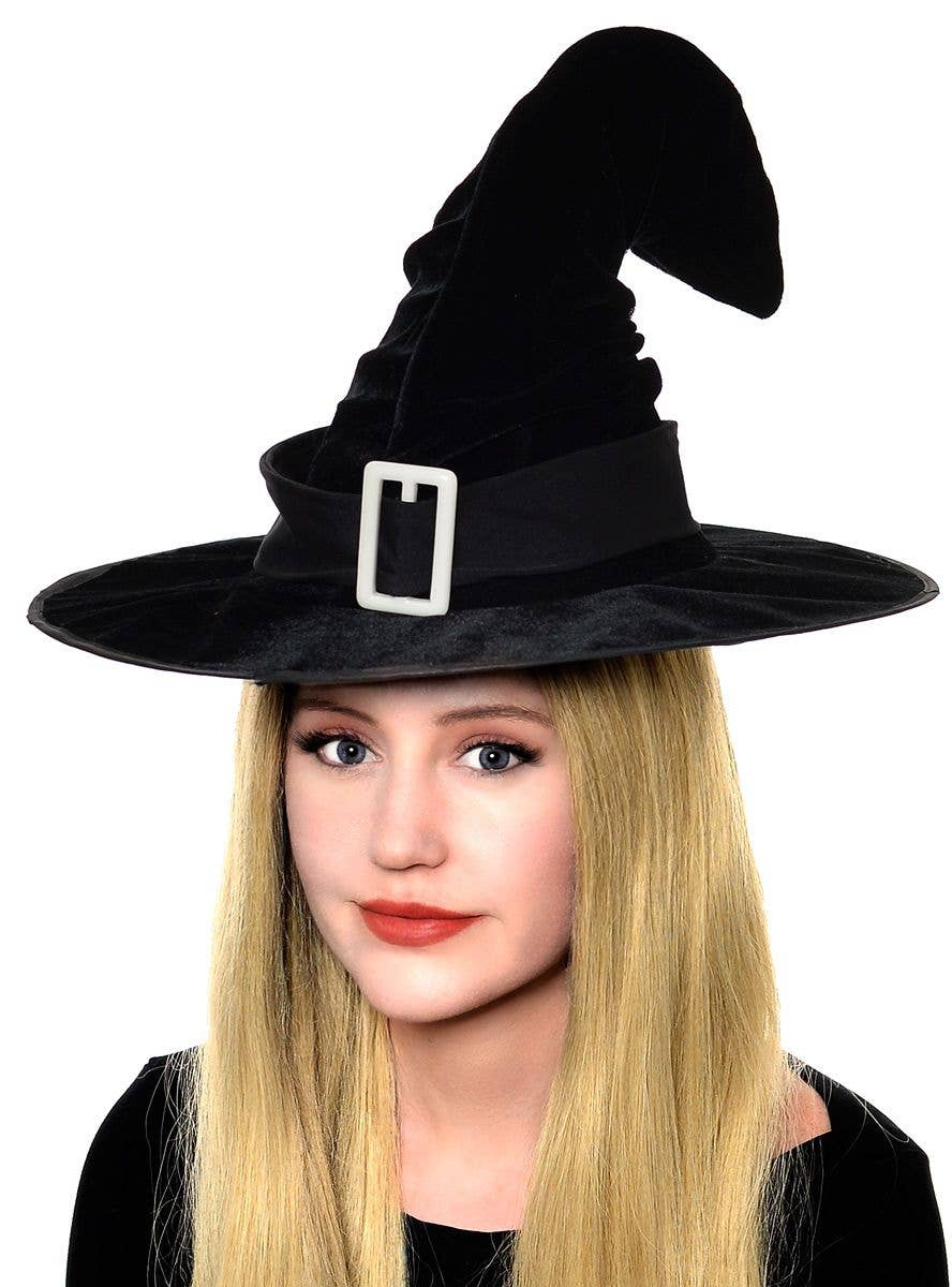 Witch Hat with Gold Buckle Halloween Adult One Size