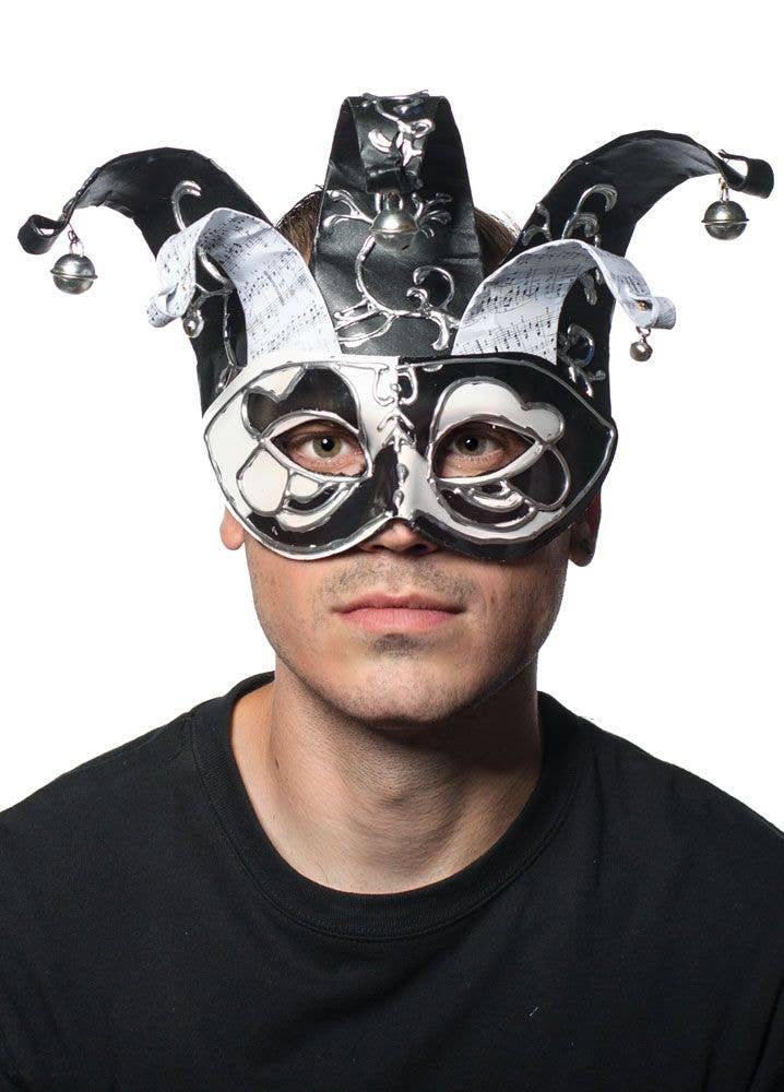black and white musical jester mask masquerade masks