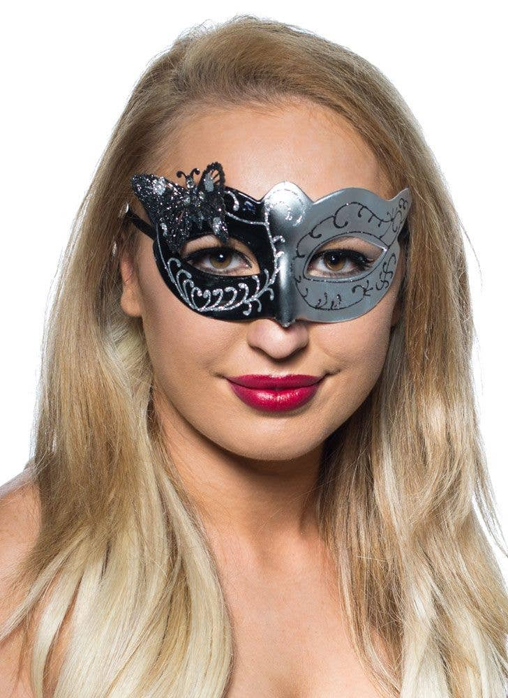 Butterfly Black and Silver Venetian Masquerade Mask b4fd3f715874