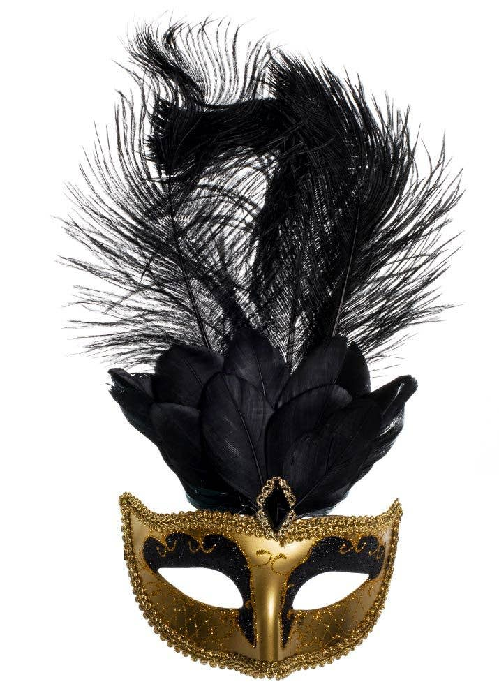Women's Black And Gold Tall Feather Masquerade Mask Alternative