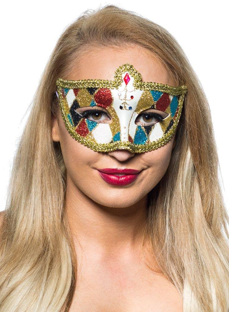 More Views of Harlequin Masquerade Mask