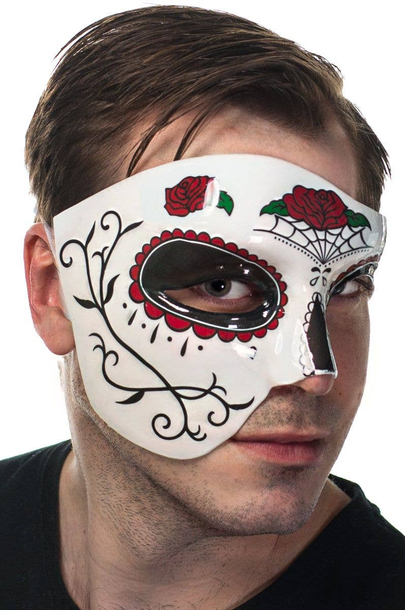 Red and Black Over Eye Mask - Day of the Dead Masquerade Mask