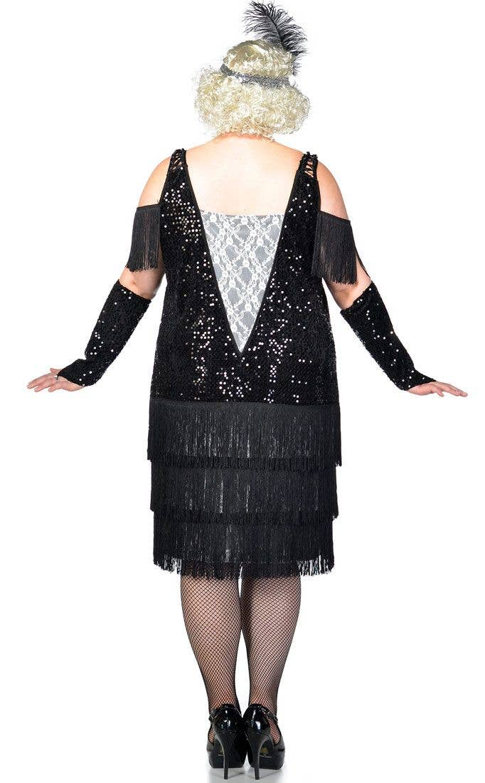a16a9ea04f7 ... Women s Black and White 1920 s Great Gatsby Plus Size Flapper Costume  Back View