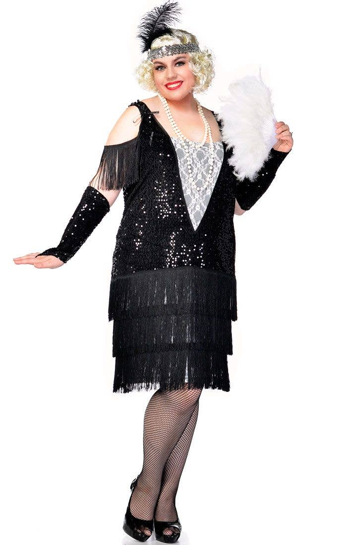 577d9985485 Women s Black and White 1920 s Great Gatsby Plus Size Flapper Costume Front  ...