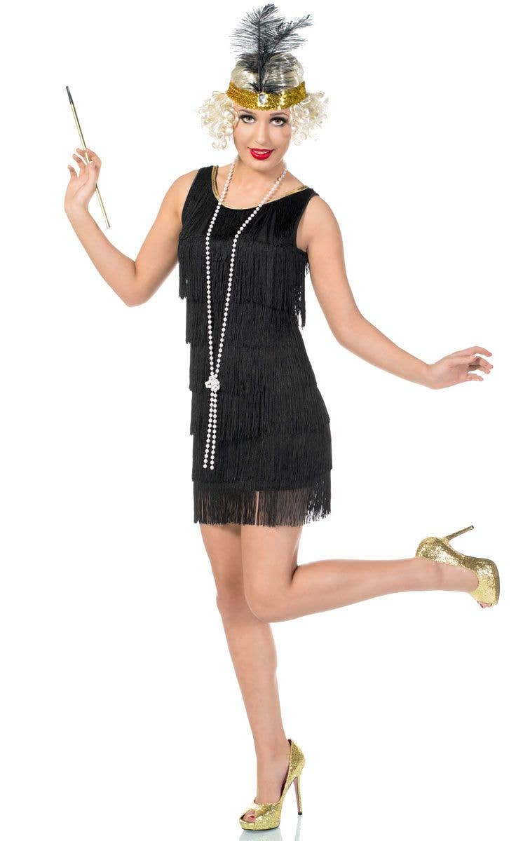 439f62e8c3a Women s Short Black 1920 s Flapper Dress Front View