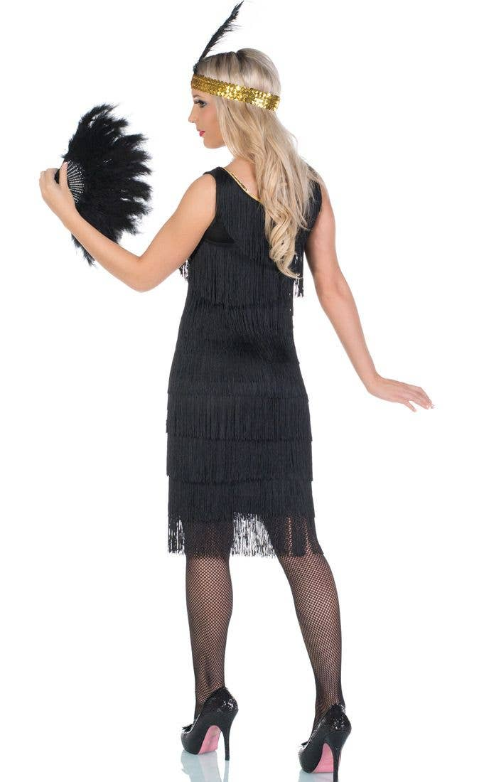 d9579282d4df4 1920's Long Black Flapper Costume | Miss Millie Flapper Dress